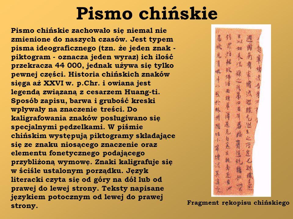 Pismo chińskie Pismo chińskie zachowało się niemal nie zmienione do naszych czasów. Jest typem pisma ideograficznego (tzn. że jeden znak - piktogram -