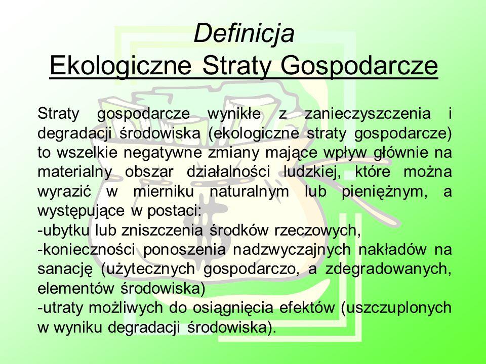 Definicja Ekologiczne Straty Gospodarcze Straty gospodarcze wynikłe z zanieczyszczenia i degradacji środowiska (ekologiczne straty gospodarcze) to wsz