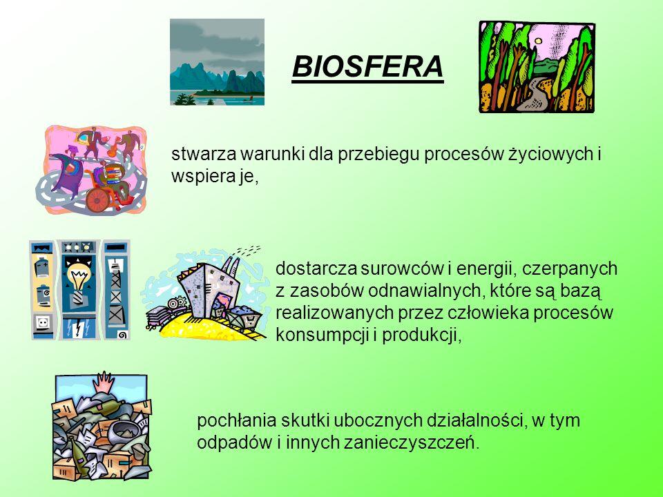 BIOSFERA stwarza warunki dla przebiegu procesów życiowych i wspiera je, dostarcza surowców i energii, czerpanych z zasobów odnawialnych, które są bazą