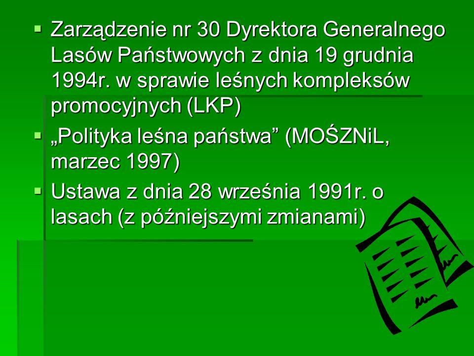 Zarządzenie nr 30 Dyrektora Generalnego Lasów Państwowych z dnia 19 grudnia 1994r.