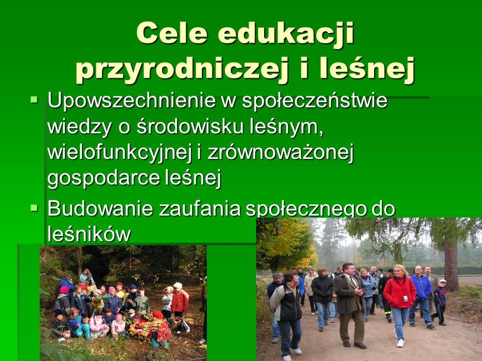 Cele edukacji przyrodniczej i leśnej Upowszechnienie w społeczeństwie wiedzy o środowisku leśnym, wielofunkcyjnej i zrównoważonej gospodarce leśnej Upowszechnienie w społeczeństwie wiedzy o środowisku leśnym, wielofunkcyjnej i zrównoważonej gospodarce leśnej Budowanie zaufania społecznego do leśników Budowanie zaufania społecznego do leśników