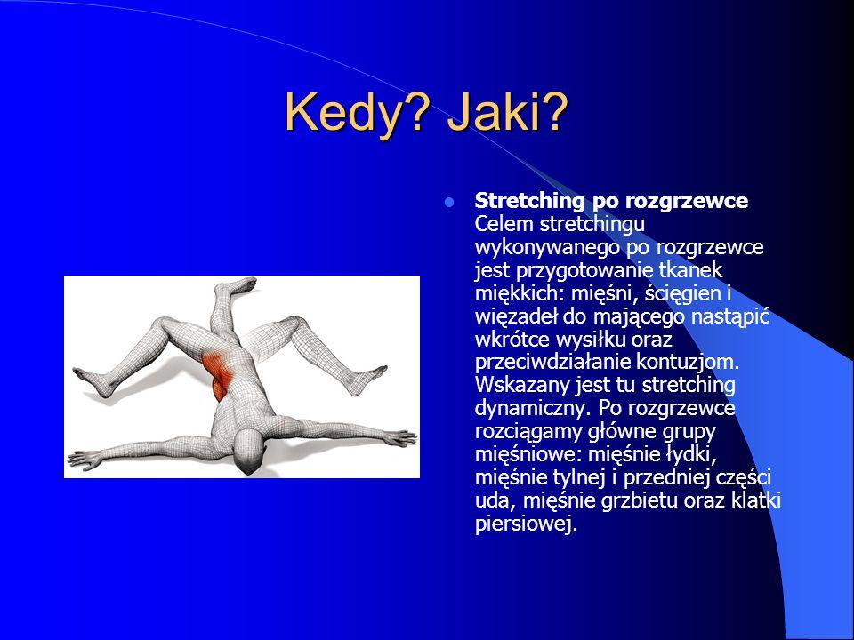 Kedy? Jaki? Stretching po rozgrzewce Celem stretchingu wykonywanego po rozgrzewce jest przygotowanie tkanek miękkich: mięśni, ścięgien i więzadeł do m