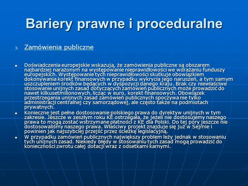 Bariery prawne i proceduralne 3. 3.