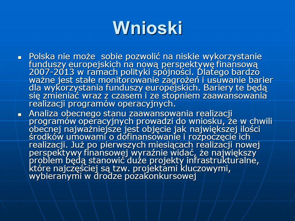 Wnioski Polska nie może sobie pozwolić na niskie wykorzystanie funduszy europejskich na nową perspektywę finansową 2007-2013 w ramach polityki spójności.