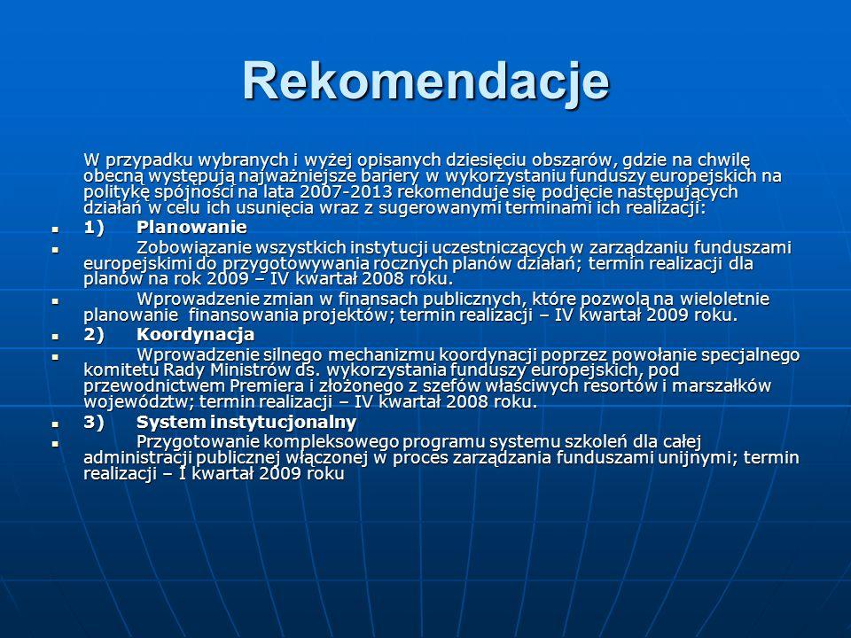 Rekomendacje W przypadku wybranych i wyżej opisanych dziesięciu obszarów, gdzie na chwilę obecną występują najważniejsze bariery w wykorzystaniu funduszy europejskich na politykę spójności na lata 2007-2013 rekomenduje się podjęcie następujących działań w celu ich usunięcia wraz z sugerowanymi terminami ich realizacji: 1)Planowanie 1)Planowanie Zobowiązanie wszystkich instytucji uczestniczących w zarządzaniu funduszami europejskimi do przygotowywania rocznych planów działań; termin realizacji dla planów na rok 2009 – IV kwartał 2008 roku.