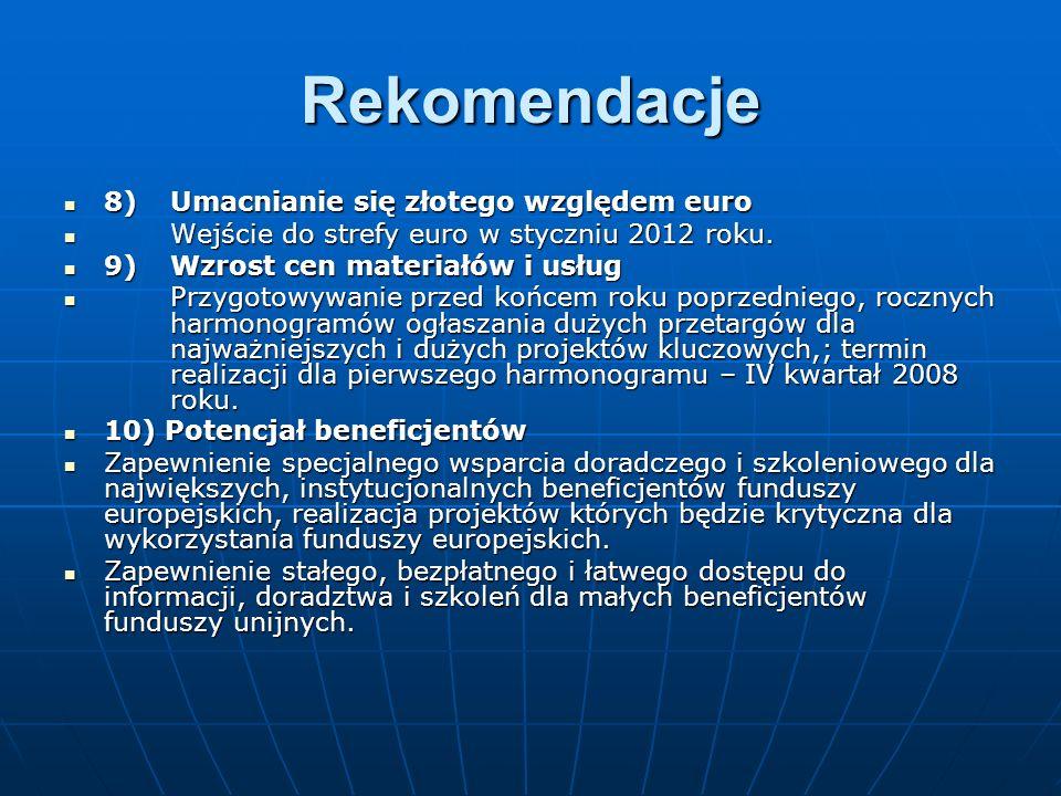Rekomendacje 8)Umacnianie się złotego względem euro 8)Umacnianie się złotego względem euro Wejście do strefy euro w styczniu 2012 roku.