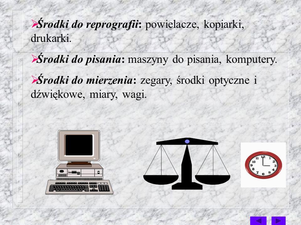 4. Zastosowanie środka technicznego: Środki łączności: telefony, łącznice konferencyjne, teleksy, telefaxy, wideofony, systemy przywoławcze. Środki do