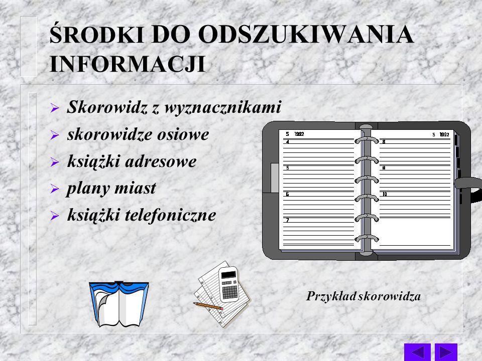 ŚRODKI DO KONTROLI TERMINÓW: terminarze biurowe elektroniczne notesy menedżerskie