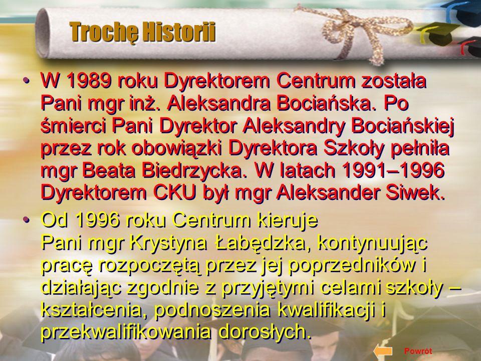Trochę Historii Kolejne zmiany dotyczące Centrum wiążą się rokiem 1989, kiedy to Prezydent Miasta Krakowa w miejsce Ośrodka Dokształcania Zawodowego p