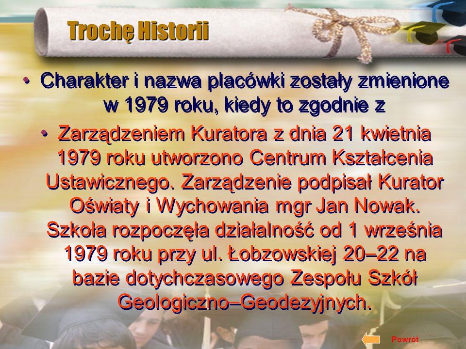 Trochę Historii Charakter i nazwa placówki zostały zmienione w 1979 roku, kiedy to zgodnie z Zarządzeniem Kuratora z dnia 21 kwietnia 1979 roku utworzono Centrum Kształcenia Ustawicznego.