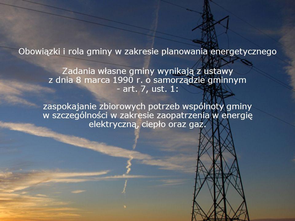 Obowiązki i rola gminy w zakresie planowania energetycznego Zadania własne gminy wynikają z ustawy z dnia 8 marca 1990 r. o samorządzie gminnym - art.