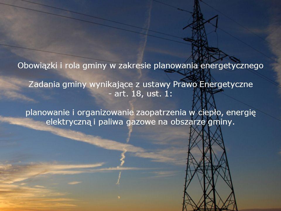 Obowiązki i rola gminy w zakresie planowania energetycznego Zadania gminy wynikające z ustawy Prawo Energetyczne - art. 18, ust. 1: planowanie i organ