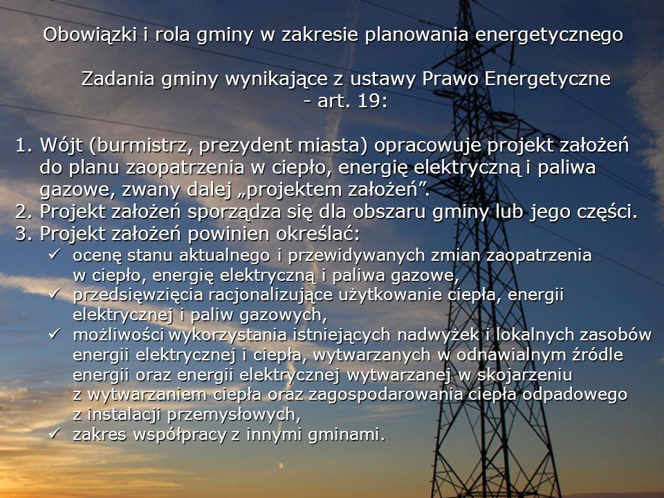 Obowiązki i rola gminy w zakresie planowania energetycznego Zadania gminy wynikające z ustawy Prawo Energetyczne - art. 19: 1.Wójt (burmistrz, prezyde