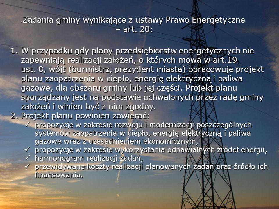 1.W przypadku gdy plany przedsiębiorstw energetycznych nie zapewniają realizacji założeń, o których mowa w art.19 ust. 8, wójt (burmistrz, prezydent m