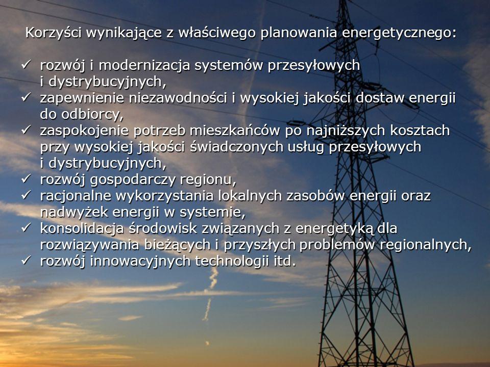 Korzyści wynikające z właściwego planowania energetycznego: rozwój i modernizacja systemów przesyłowych i dystrybucyjnych, rozwój i modernizacja syste