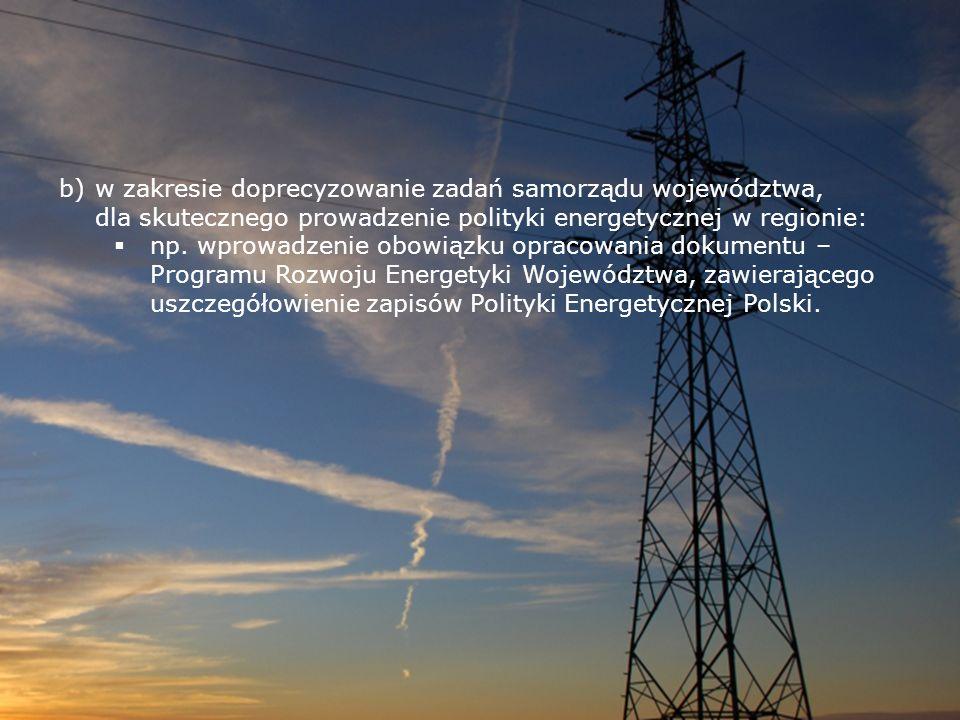 b)w zakresie doprecyzowanie zadań samorządu województwa, dla skutecznego prowadzenie polityki energetycznej w regionie: np. wprowadzenie obowiązku opr