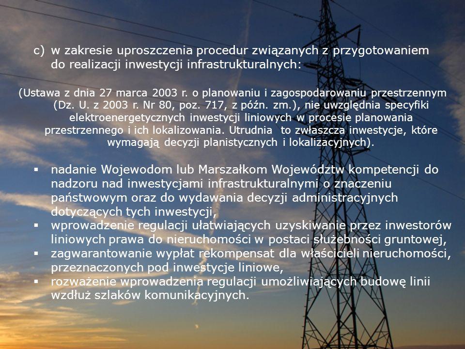 c)w zakresie uproszczenia procedur związanych z przygotowaniem do realizacji inwestycji infrastrukturalnych: (Ustawa z dnia 27 marca 2003 r. o planowa