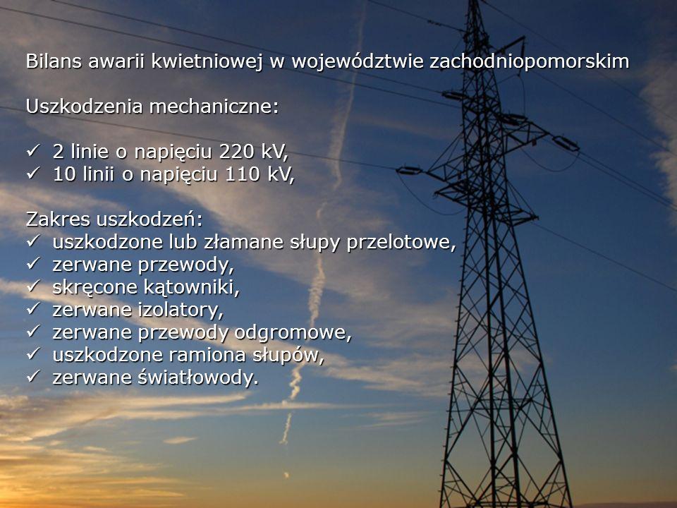 Bilans awarii kwietniowej w województwie zachodniopomorskim Uszkodzenia mechaniczne: 2 linie o napięciu 220 kV, 2 linie o napięciu 220 kV, 10 linii o