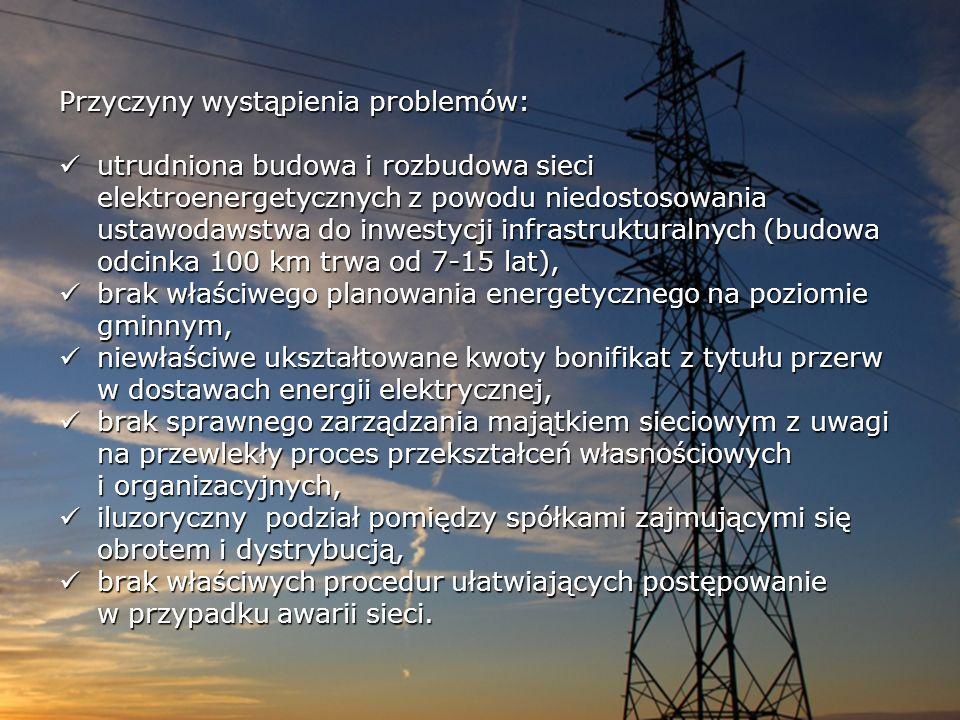 Przyczyny wystąpienia problemów: utrudniona budowa i rozbudowa sieci elektroenergetycznych z powodu niedostosowania ustawodawstwa do inwestycji infras
