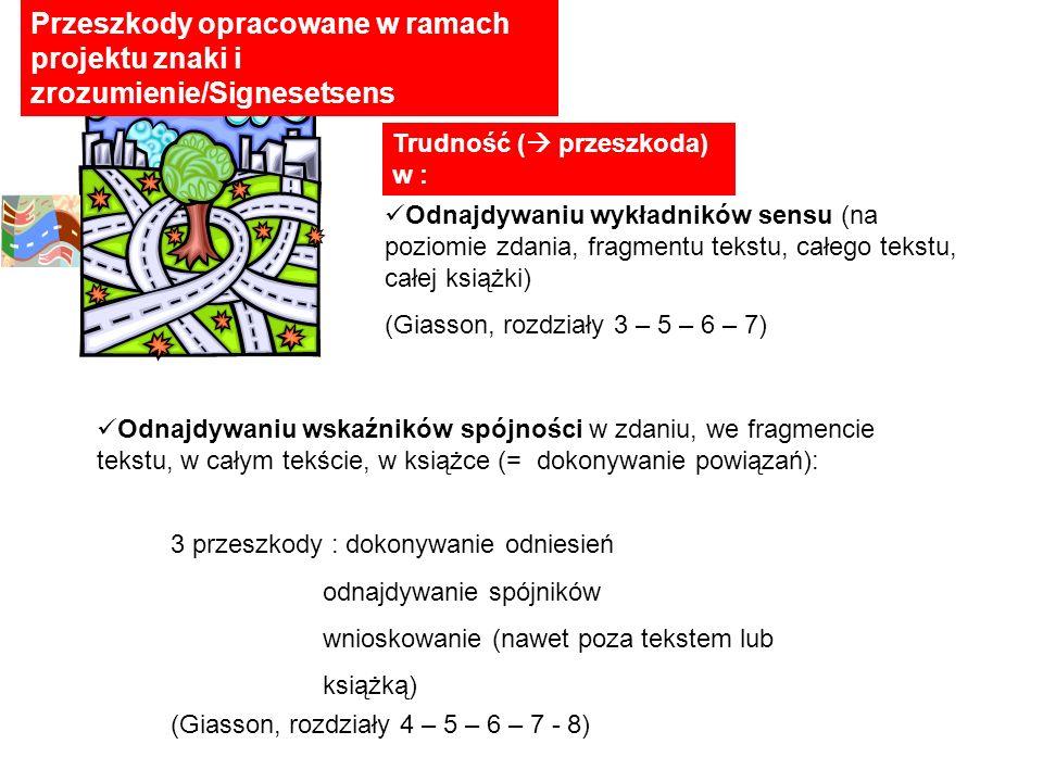 Trudność ( przeszkoda) w : Odnajdywaniu wykładników sensu (na poziomie zdania, fragmentu tekstu, całego tekstu, całej książki) (Giasson, rozdziały 3 –