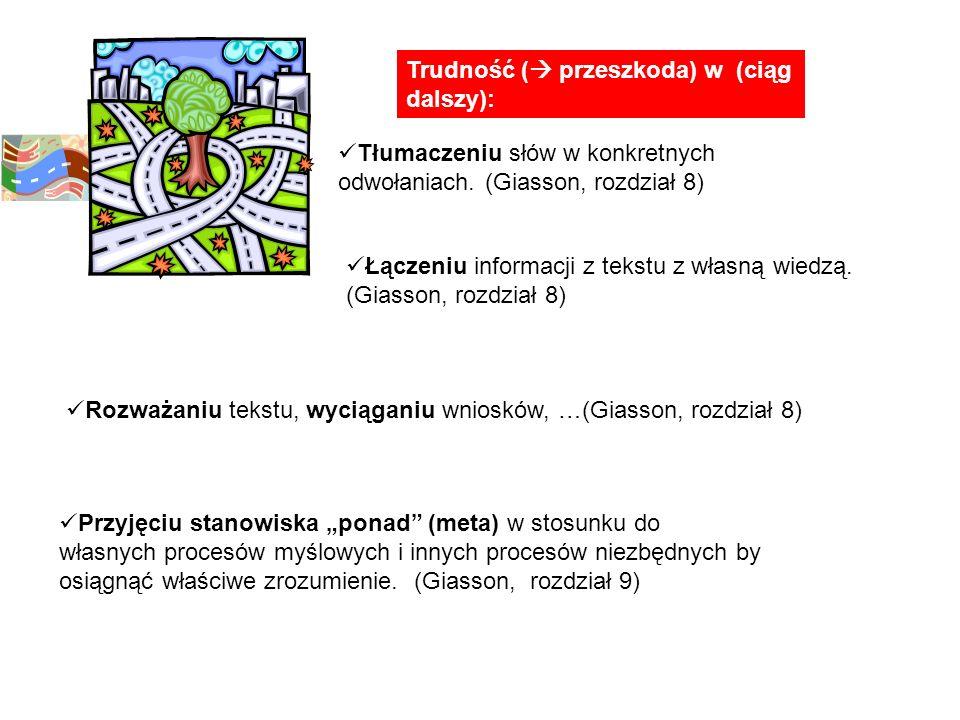 Trudność ( przeszkoda) w (ciąg dalszy): Tłumaczeniu słów w konkretnych odwołaniach. (Giasson, rozdział 8) Rozważaniu tekstu, wyciąganiu wniosków, …(Gi