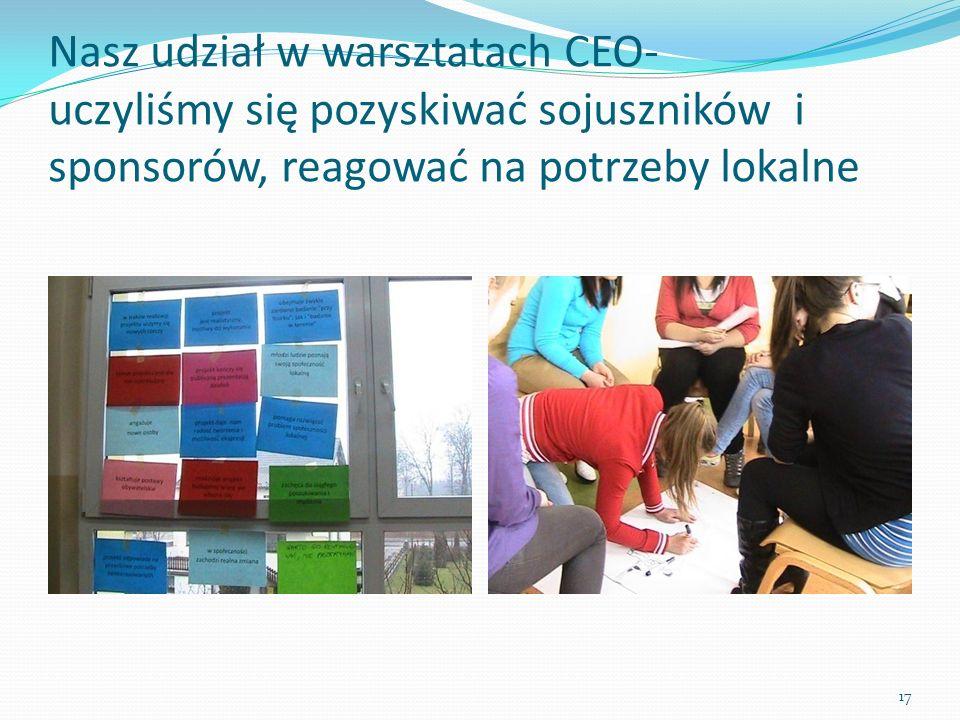 Nasz udział w warsztatach CEO- uczyliśmy się pozyskiwać sojuszników i sponsorów, reagować na potrzeby lokalne 17