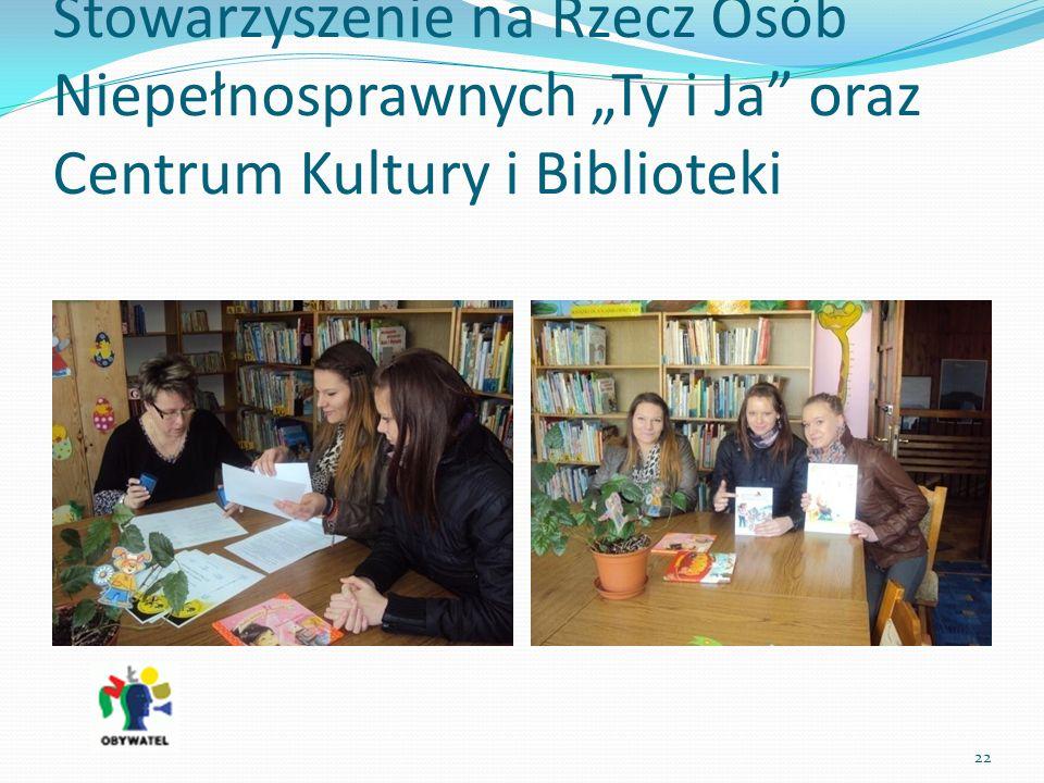 Stowarzyszenie na Rzecz Osób Niepełnosprawnych Ty i Ja oraz Centrum Kultury i Biblioteki 22