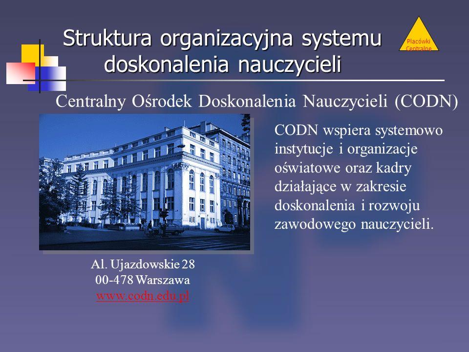 Placówki Centralne Centralny Ośrodek Doskonalenia Nauczycieli (CODN) Al. Ujazdowskie 28 00-478 Warszawa www.codn.edu.pl Struktura organizacyjna system
