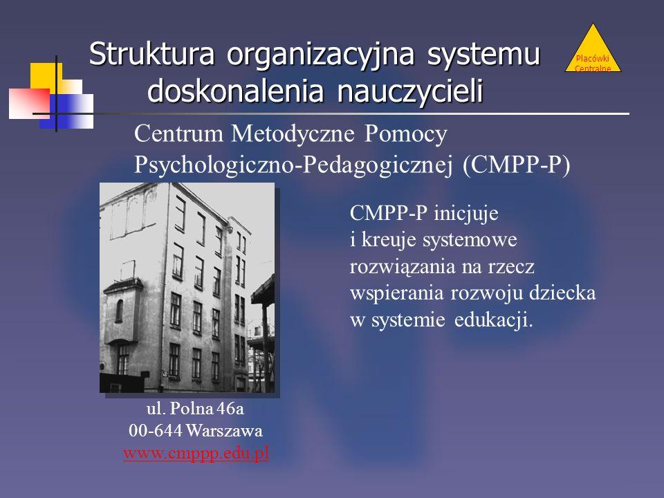 Struktura organizacyjna systemu doskonalenia nauczycieli Placówki Centralne Centrum Metodyczne Pomocy Psychologiczno-Pedagogicznej (CMPP-P) ul. Polna