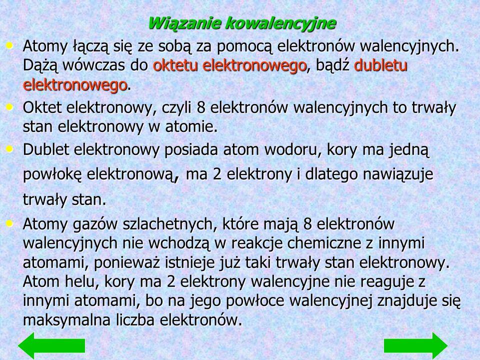 Wiązanie kowalencyjne Atomy łączą się ze sobą za pomocą elektronów walencyjnych.