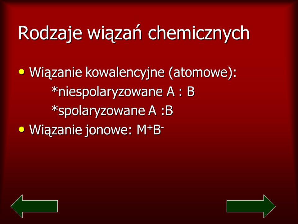 Rodzaje wiązań chemicznych Wiązanie kowalencyjne (atomowe): Wiązanie kowalencyjne (atomowe): *niespolaryzowane A : B *niespolaryzowane A : B *spolaryzowane A :B *spolaryzowane A :B Wiązanie jonowe: M + B - Wiązanie jonowe: M + B -