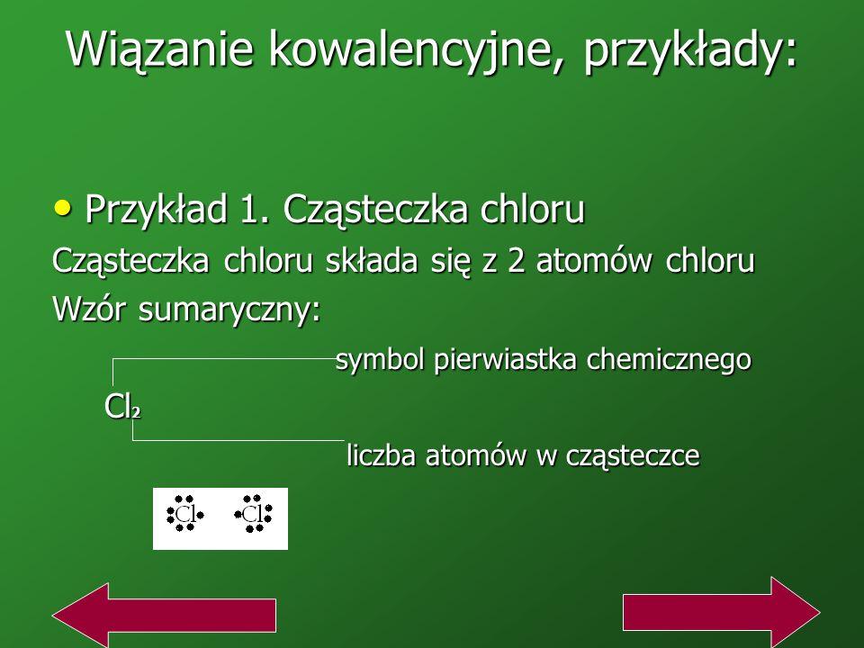 Wiązanie kowalencyjne, przykłady: Przykład 1.Cząsteczka chloru Przykład 1.