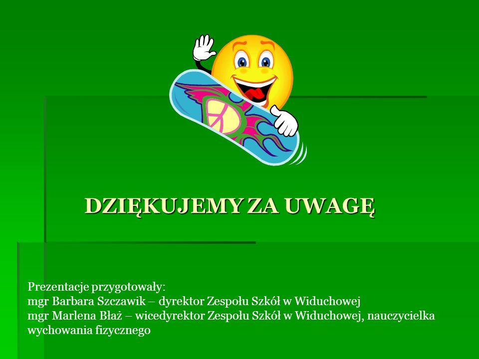 DZIĘKUJEMY ZA UWAGĘ Prezentacje przygotowały: mgr Barbara Szczawik – dyrektor Zespołu Szkół w Widuchowej mgr Marlena Błaż – wicedyrektor Zespołu Szkół w Widuchowej, nauczycielka wychowania fizycznego