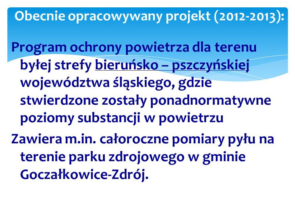 Program ochrony powietrza dla terenu byłej strefy bieruńsko – pszczyńskiej województwa śląskiego, gdzie stwierdzone zostały ponadnormatywne poziomy substancji w powietrzu Zawiera m.in.