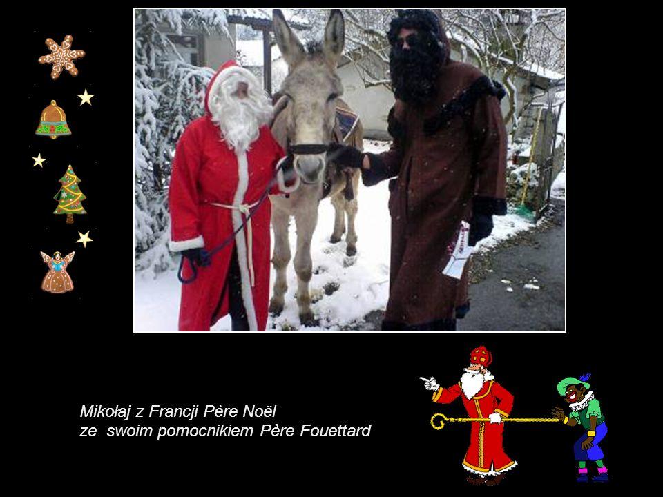 Mikołaj z Francji Père Noël, prezenty nosi na plecach, w koszu (takim jaki jest używany przy zbiorach winogron).