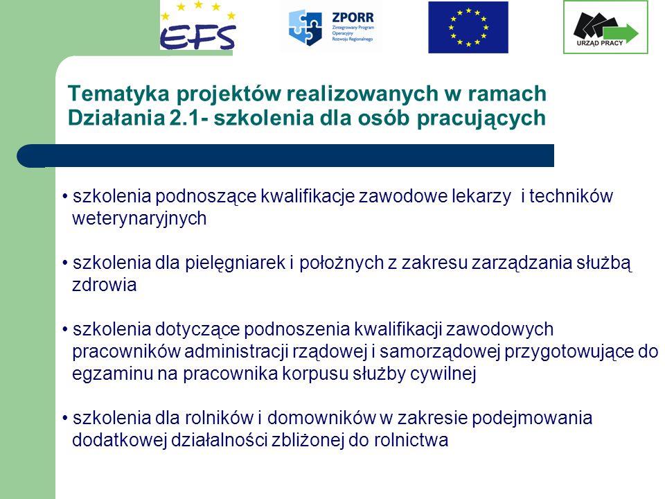 Tematyka projektów realizowanych w ramach Działania 2.1- szkolenia dla osób pracujących szkolenia podnoszące kwalifikacje zawodowe lekarzy i techników