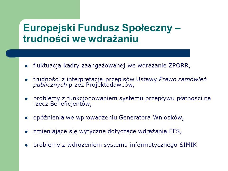 Europejski Fundusz Społeczny – trudności we wdrażaniu fluktuacja kadry zaangażowanej we wdrażanie ZPORR, trudności z interpretacją przepisów Ustawy Prawo zamówień publicznych przez Projektodawców, problemy z funkcjonowaniem systemu przepływu płatności na rzecz Beneficjentów, opóźnienia we wprowadzeniu Generatora Wniosków, zmieniające się wytyczne dotyczące wdrażania EFS, problemy z wdrożeniem systemu informatycznego SIMIK