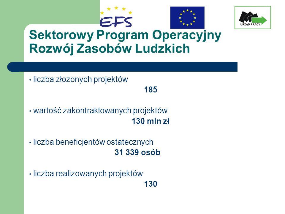 Sektorowy Program Operacyjny Rozwój Zasobów Ludzkich liczba złożonych projektów 185 wartość zakontraktowanych projektów 130 mln zł liczba beneficjentó