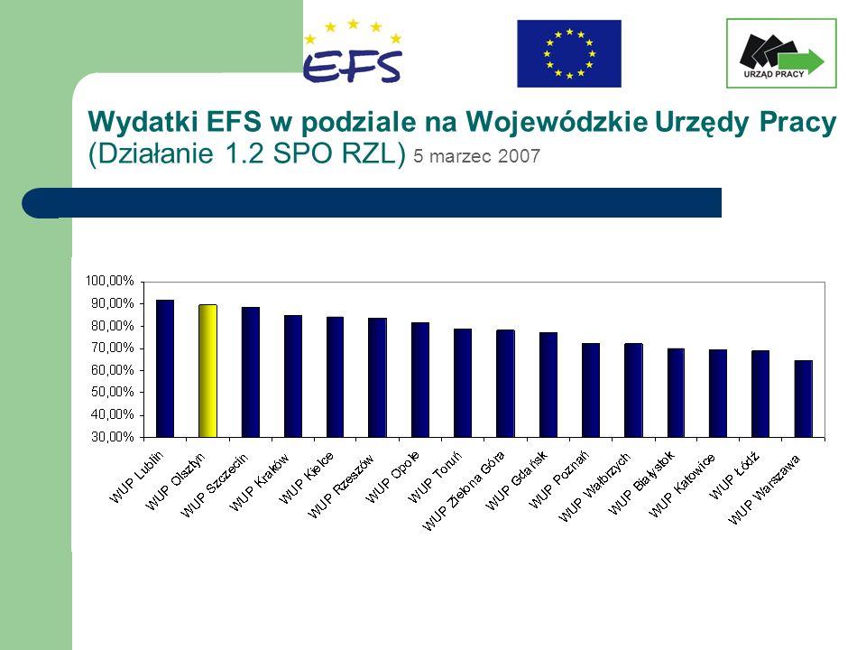 Wydatki EFS w podziale na Wojewódzkie Urzędy Pracy (Działanie 1.2 SPO RZL) 5 marzec 2007