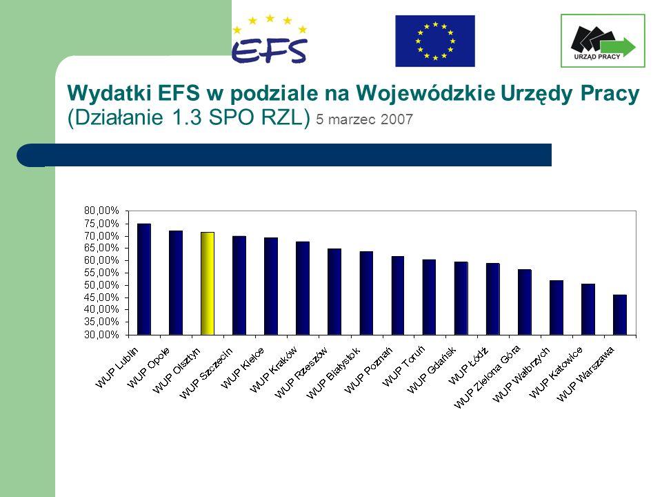 Wydatki EFS w podziale na Wojewódzkie Urzędy Pracy (Działanie 1.3 SPO RZL) 5 marzec 2007