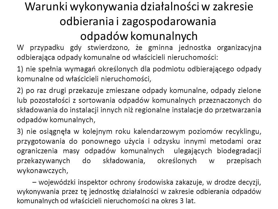 Warunki wykonywania działalności w zakresie odbierania i zagospodarowania odpadów komunalnych W przypadku gdy stwierdzono, że gminna jednostka organiz