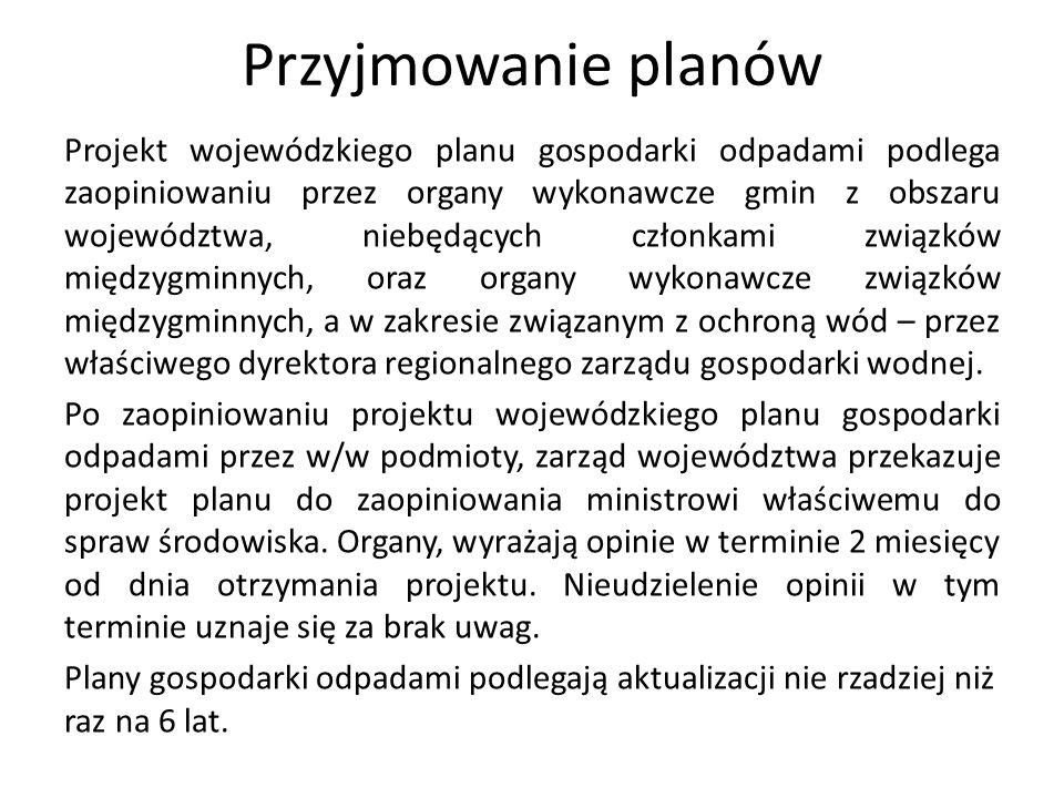 Przyjmowanie planów Projekt wojewódzkiego planu gospodarki odpadami podlega zaopiniowaniu przez organy wykonawcze gmin z obszaru województwa, niebędąc