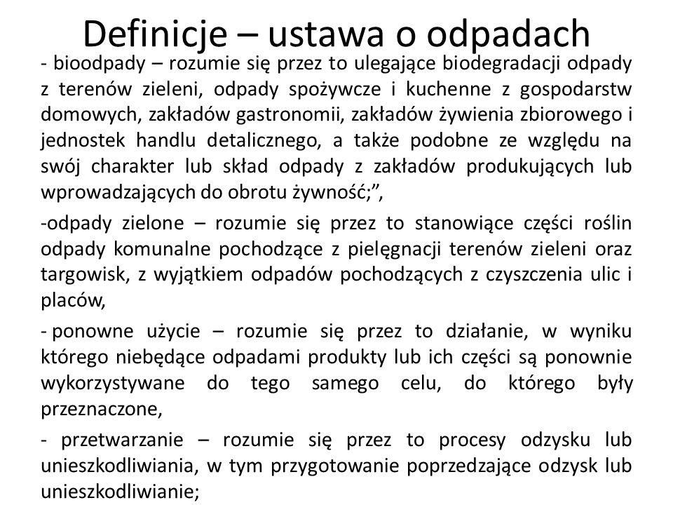 Definicje – ustawa o odpadach - bioodpady – rozumie się przez to ulegające biodegradacji odpady z terenów zieleni, odpady spożywcze i kuchenne z gospo