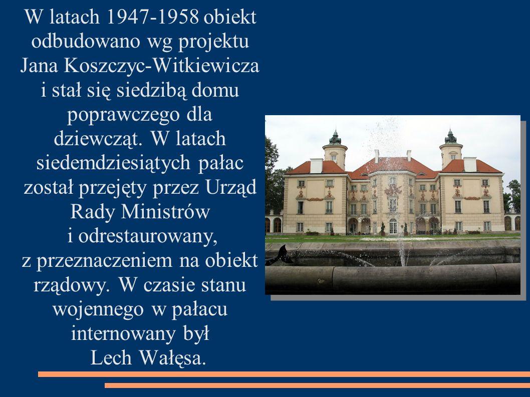 W latach dziewięćdziesiątych pałac został przekazany Kancelarii Prezydenta, ostatnie lata pieczę nad pałacem sprawowało Ministerstwo Spraw Wewnętrznych i Administracji.