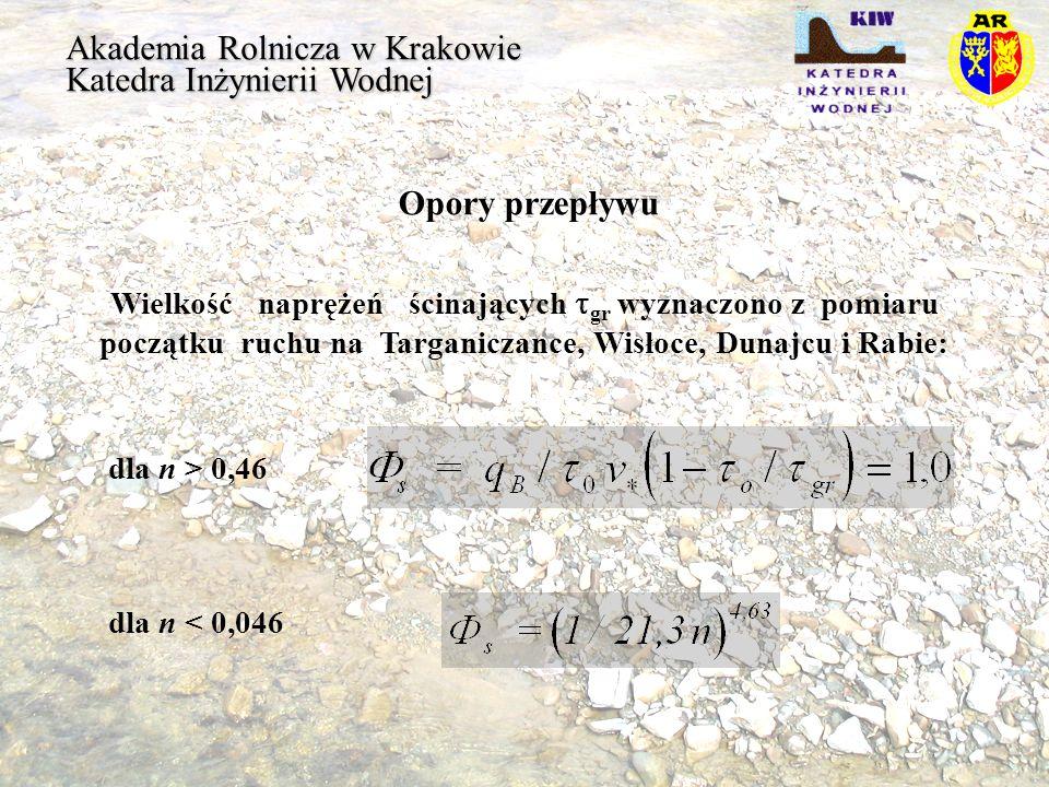 Akademia Rolnicza w Krakowie Katedra Inżynierii Wodnej Opory przepływu Wielkość naprężeń ścinających gr wyznaczono z pomiaru początku ruchu na Targani