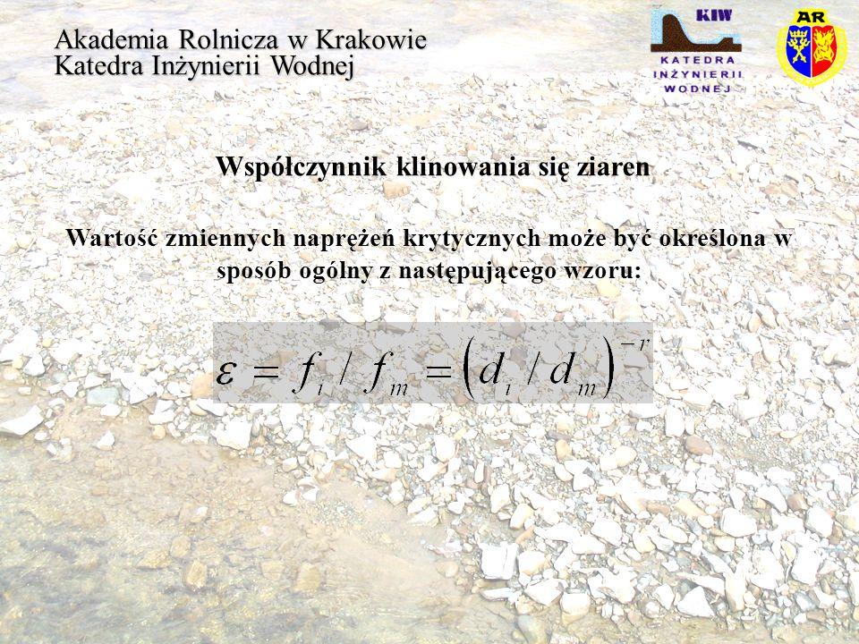 Akademia Rolnicza w Krakowie Katedra Inżynierii Wodnej Współczynnik klinowania się ziaren Wartość zmiennych naprężeń krytycznych może być określona w