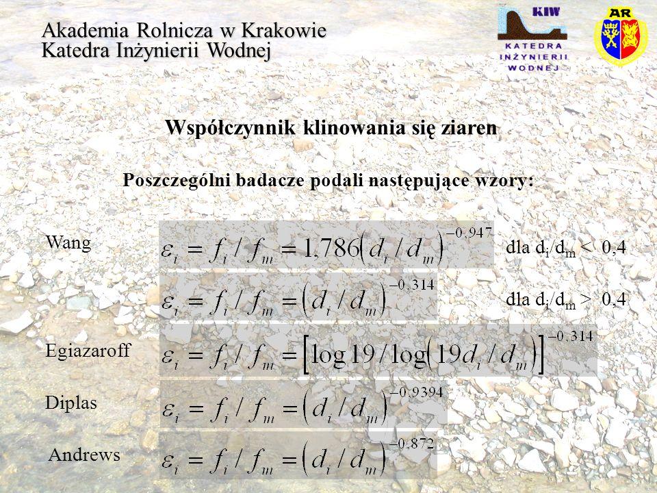 Akademia Rolnicza w Krakowie Katedra Inżynierii Wodnej Współczynnik klinowania się ziaren Poszczególni badacze podali następujące wzory: dla d i /d m