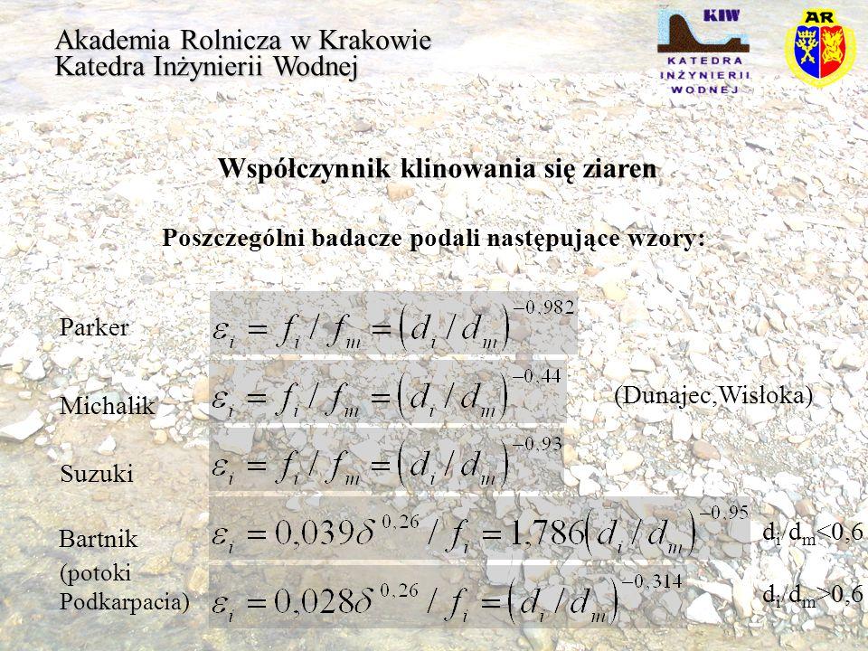 Akademia Rolnicza w Krakowie Katedra Inżynierii Wodnej Współczynnik klinowania się ziaren Poszczególni badacze podali następujące wzory: Parker Michal