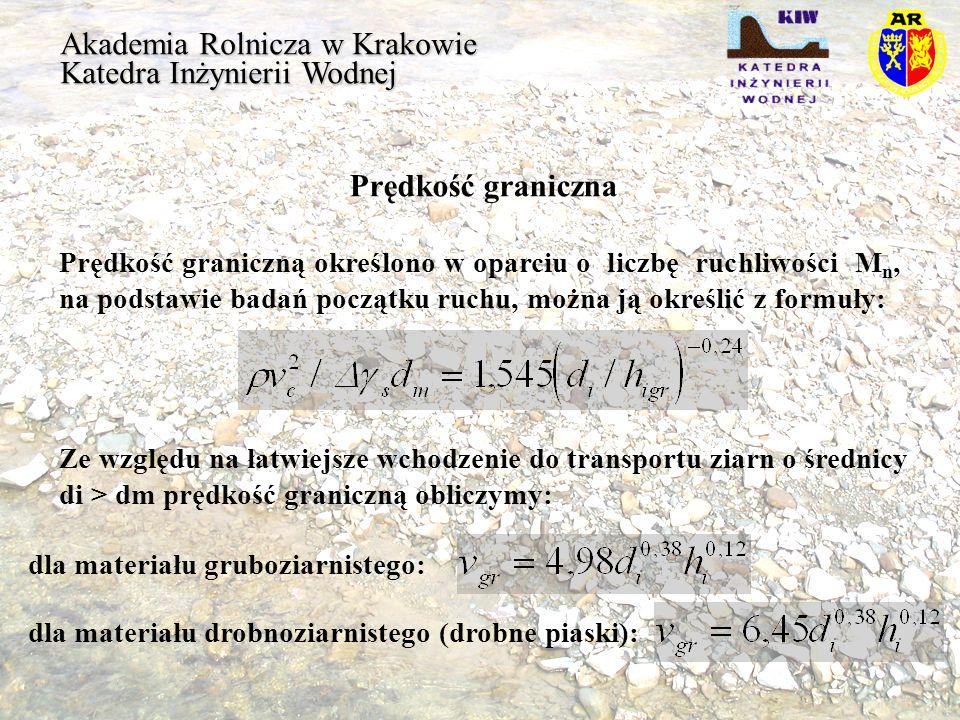 Akademia Rolnicza w Krakowie Katedra Inżynierii Wodnej Prędkość graniczna Prędkość graniczną określono w oparciu o liczbę ruchliwości M n, na podstawi