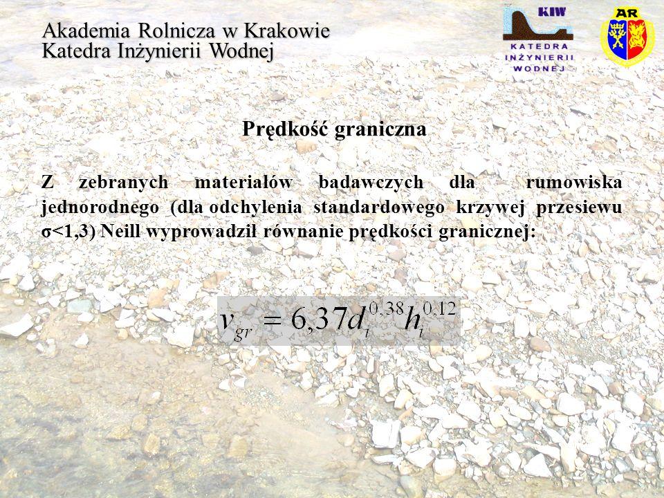 Akademia Rolnicza w Krakowie Katedra Inżynierii Wodnej Prędkość graniczna Z zebranych materiałów badawczych dla rumowiska jednorodnego (dla odchylenia